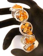 Artisan Hand Crafted Citrine Chip Spiral Bangle.